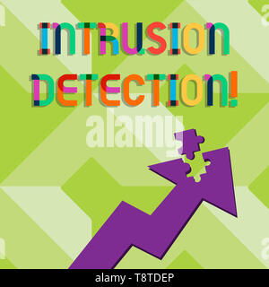 Handwriting text writing Intrusion Detection. Conceptual photo monitors a network or systems for malicious activity Colorful Arrow Pointing Upward wit - Stock Photo