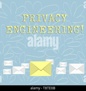 Writing note showing Privacy Engineering. Business concept for engineered systems provide acceptable levels of privacy Color Envelopes in Different Si - Stock Photo