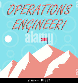 Conceptual hand writing showing Operations Engineer. Concept meaning analyze and design operation that will improve work flow Mountains with Shadow In - Stock Photo