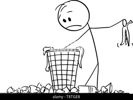 Vector cartoon stick figure drawing conceptual illustration of desperate man or businessman searching for something in trash in dustbin or scrap basket. - Stock Photo