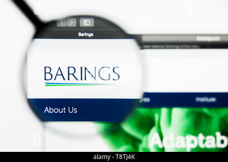Richmond, Virginia, USA - 9 May 2019: Illustrative Editorial of Barings website homepage. Barings logo visible on screen. - Stock Photo