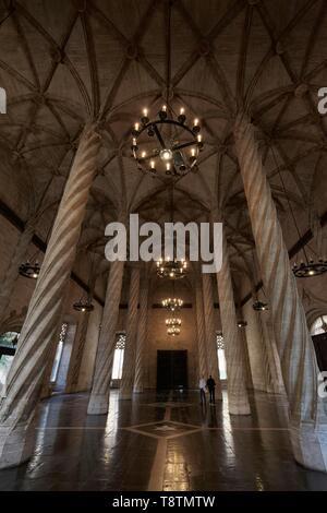 Columned hall, gothic, silk exchange, Llotja de la Seda, old town, Ciutat Vella, Valencia, Spain - Stock Photo
