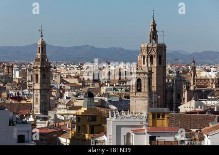 City view Ciutat Vella, Old Town, church towers Micalet and Santa Caterina, view from Mirador Ateneo Mercantil, Valencia, Spain - Stock Photo