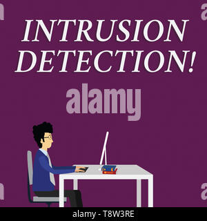 Writing note showing Intrusion Detection. Business concept for monitors a network or systems for malicious activity Businessman Sitting on Chair Worki - Stock Photo