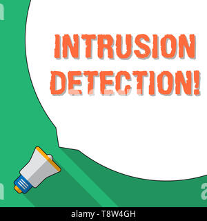 Word writing text Intrusion Detection. Business photo showcasing monitors a network or systems for malicious activity Huge Blank White Speech Bubble O - Stock Photo