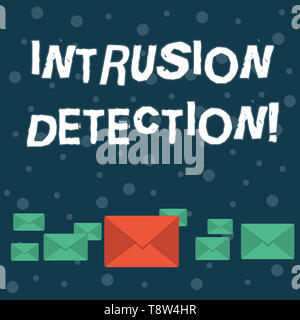 Writing note showing Intrusion Detection. Business concept for monitors a network or systems for malicious activity Color Envelopes in Different Sizes - Stock Photo