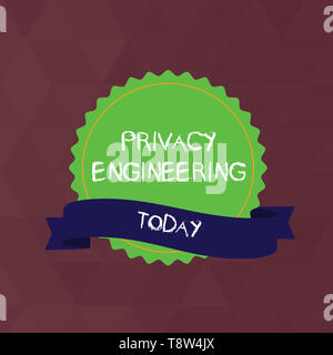 Writing note showing Privacy Engineering. Business concept for engineered systems provide acceptable levels of privacy Color Seal Sticker with Jagged  - Stock Photo