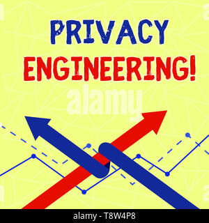 Writing note showing Privacy Engineering. Business concept for engineered systems provide acceptable levels of privacy Two Arrows One Intertwined to O - Stock Photo