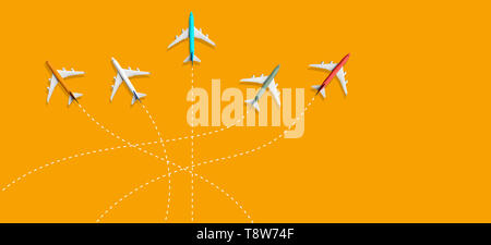 Aviation industry with group of airplane flying on different route.Traffic management control.Business industry transportation - Stock Photo