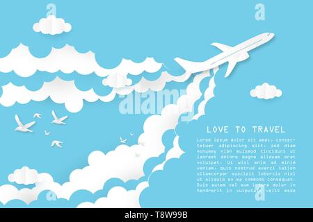 Creative illustration love to travel concept. Airplane flying on blue and white clouds with bird and space. Paper art paper cut style. Website templat - Stock Photo