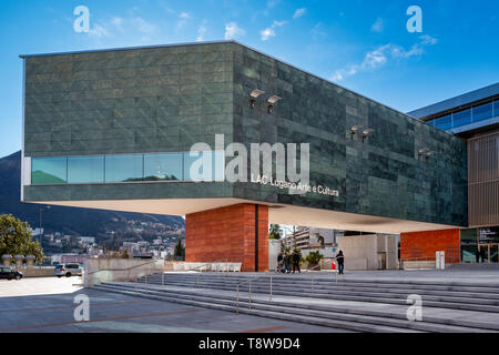 Lugano Arte e Cultura (LAC) is a cultural centre dedicated to music, visual and performance arts opened in 2015 in Lugano, Switzerland. The LAC centre - Stock Photo