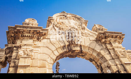 Habsburg Gate to Buda Castle in Budapest, Hungary - Stock Photo