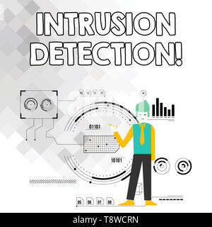 Word writing text Intrusion Detection. Business photo showcasing monitors a network or systems for malicious activity Man Standing Holding Pen Pointin - Stock Photo