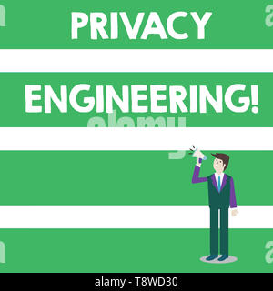 Text sign showing Privacy Engineering. Business photo text engineered systems provide acceptable levels of privacy Businessman Looking Up, Holding and - Stock Photo