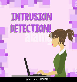 Word writing text Intrusion Detection. Business photo showcasing monitors a network or systems for malicious activity photo of Young Busy Woman Sittin - Stock Photo