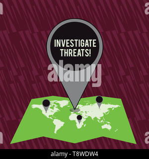 Text sign showing Investigate Threats. Business photo text carry out a systematic inquiry on potential danger Colorful Huge Location Marker Pin Pointi - Stock Photo