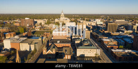 Dawn Light Hits Downtown State Capitol Building Springfield Illinois - Stock Photo