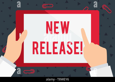 Handwriting text New Release. Conceptual photo announcing something newsworthy recent product Businessman Hand Holding, Pointing and Touching Colorful - Stock Photo