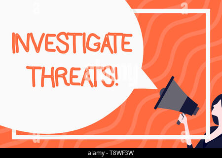 Word writing text Investigate Threats. Business photo showcasing carry out a systematic inquiry on potential danger Huge Blank Speech Bubble Round Sha - Stock Photo