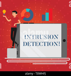 Writing note showing Intrusion Detection. Business concept for monitors a network or systems for malicious activity Man Leaning on Smartphone Turned o - Stock Photo