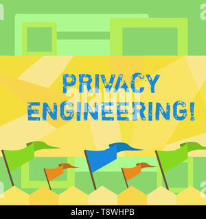 Handwriting text writing Privacy Engineering. Conceptual photo engineered systems provide acceptable levels of privacy Blank Solid Colorful Pennant St - Stock Photo