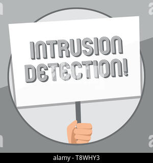 Word writing text Intrusion Detection. Business photo showcasing monitors a network or systems for malicious activity Hand Holding Blank White Placard - Stock Photo