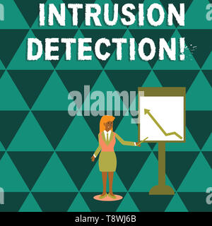 Writing note showing Intrusion Detection. Business concept for monitors a network or systems for malicious activity Woman Holding Stick Pointing to Ch - Stock Photo