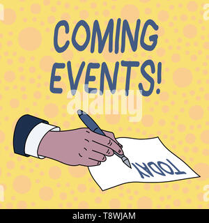 Handwriting text Coming Events. Conceptual photo happening or appearing soon Upcoming Forthcoming event - Stock Photo
