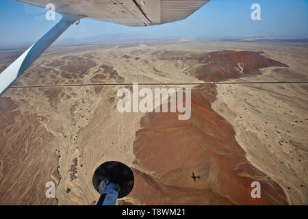 Nazca lines in Peru from an airplane - Stock Photo