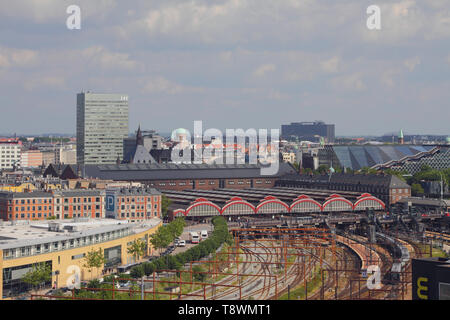 Copenhagen, Denmark - Jun 09, 2012: Railway station and city - Stock Photo