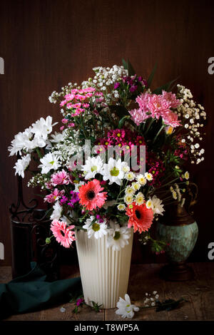 Flowers in a vase in style of Dutch masters - Stock Photo