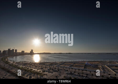 View of the Luanda downtown with beautiful sunset. Luanda. Angola. - Stock Photo