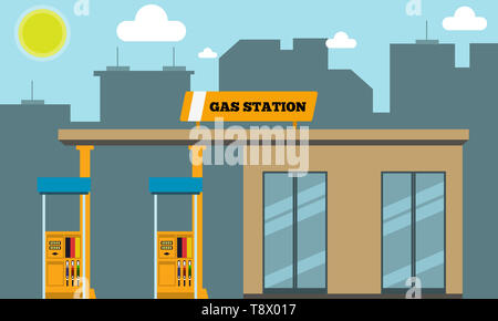Gas filling station with cityscape silhouette in background. illustration. - Stock Photo