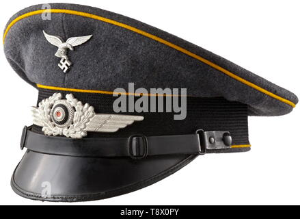 A visor cap for enlisted men/NCOs of aviation personnel or paratroopers Magdeburg aviation school historic, historical, Air Force, branch of service, branches of service, armed service, armed services, military, militaria, air forces, object, objects, stills, clipping, clippings, cut out, cut-out, cut-outs, 20th century, Editorial-Use-Only - Stock Photo