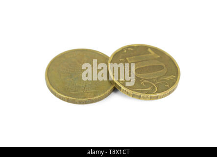 Two Russian coins of ten rubles isolated on white - Stock Photo