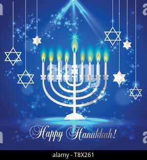 Happy Hanukkah Shining Background with Menorah, David Star and Bokeh Effect. Vector illustration on blue. - Stock Photo