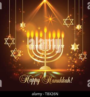 Happy Hanukkah Shining Background with Menorah, David Star and Bokeh Effect. illustration on blue. - Stock Photo