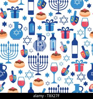 Jewish holiday Hanukkah greeting card traditional Chanukah symbols. Seamless pattern. - Stock Photo