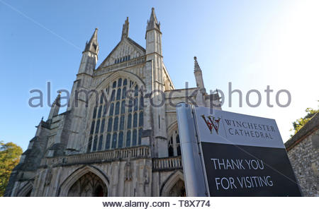Embargoed until 0001 Thursday 16 May 2019 File photo dated 03/10/17 of Winchester Cathedral where scientists believe they may have discovered the remains of an 11th century queen of England. - Stock Photo