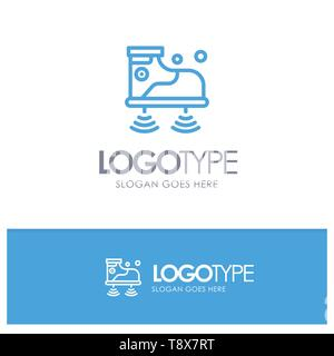 Shoes, Wifi, Service, Technology Blue outLine Logo with place for tagline - Stock Photo