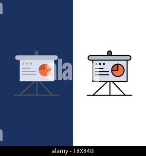 Presentation, Analytics, Board, Business  Icons. Flat and Line Filled Icon Set Vector Blue Background - Stock Photo