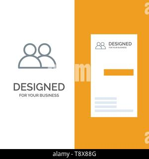 Add, Contact, User, Twitter Grey Logo Design and Business Card Template - Stock Photo