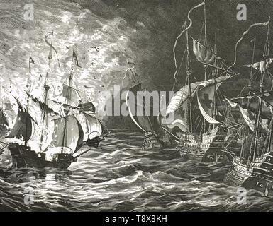 English fleet firing on the Spanish Armada, 1588 - Stock Photo