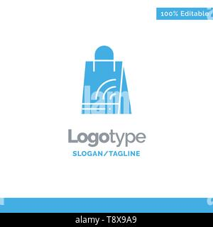 Bag, Handbag, Wifi, Shopping Blue Solid Logo Template. Place for Tagline - Stock Photo