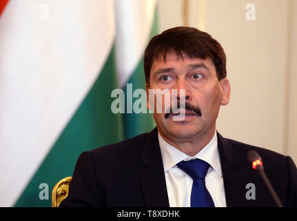 Budapest, Hungary. 15th May, 2019. Hungarian President Janos Ader speaks during a press conference after meeting with Czech President Milos Zeman (not seen) on May 15, 2019, in Budapest, Hungary. Credit: Katerina Sulova/CTK Photo/Alamy Live News - Stock Photo