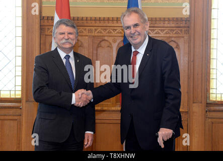 Budapest, Hungary. 15th May, 2019. Czech President Milos Zeman (right) meets Hungarian parliament chairman Laszlo Kover, who is also a member of Orban's Fidesz party in Budapest, Hungarian, May 15, 2019. Credit: Katerina Sulova/CTK Photo/Alamy Live News - Stock Photo