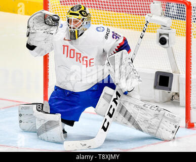 Bratislava, Slovakia. 15th May, 2019. Goaltender Henrik Holm (NOR) in action during the match between Switzerland and Norway within the 2019 IIHF World Championship in Bratislava, Slovakia, on May 15, 2019. Credit: Vit Simanek/CTK Photo/Alamy Live News - Stock Photo