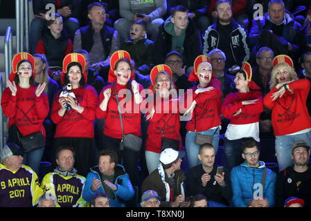 Bratislava, Slovakia. 15th May, 2019. BRATISLAVA, SLOVAKIA - MAY 15, 2019: Russian fans attend their team's 2019 IIHF Ice Hockey World Championship Preliminary Round Group B match against Italy at the Ondrej Nepela Arena. Alexander Demianchuk/TASS Credit: ITAR-TASS News Agency/Alamy Live News - Stock Photo