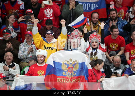 Bratislava, Slovakia. 15th May, 2019. BRATISLAVA, SLOVAKIA - MAY 15, 2019: Russian fans at their team's 2019 IIHF Ice Hockey World Championship Preliminary Round Group B match against Italy at the Ondrej Nepela Arena. Alexander Demianchuk/TASS Credit: ITAR-TASS News Agency/Alamy Live News - Stock Photo