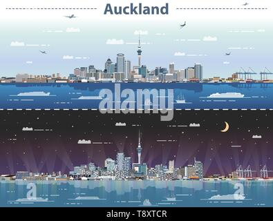 Auckland city skyline at day and night vector illustration - Stock Photo